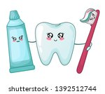 kawaii healthy tooth and... | Shutterstock .eps vector #1392512744