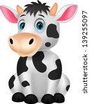 Stock vector cute cow cartoon sitting 139255097