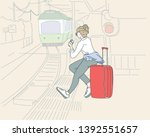 A woman sitting on a luggage bag on a train platform, waiting for the train. Thin concept of cartoon. hand drawn style vector design illustrations.