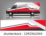 cargo van decal design vector.... | Shutterstock .eps vector #1392561044