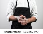 chef with flour on hands | Shutterstock . vector #139257497