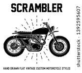 hand drawn custom motorcycle... | Shutterstock .eps vector #1392595607