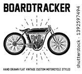 hand drawn custom motorcycle... | Shutterstock .eps vector #1392597494