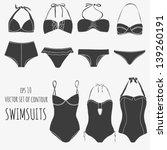 vector set of seven swimsuits...   Shutterstock .eps vector #139260191