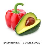 red sweet bell pepper and... | Shutterstock . vector #1392652937