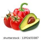 red sweet bell pepper  tomatoes ... | Shutterstock . vector #1392653387