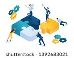 isometric people connecting... | Shutterstock .eps vector #1392683021
