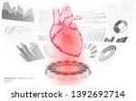 3d low poly human heart hud...