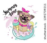 cute pug on a circle donut and... | Shutterstock .eps vector #1392739211