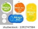 brazil nuts colorful label set. ... | Shutterstock .eps vector #1392747584