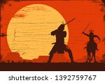 silhouette of japanese samurai... | Shutterstock .eps vector #1392759767