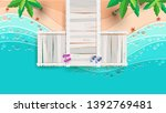 the beach scene from the top in ... | Shutterstock .eps vector #1392769481