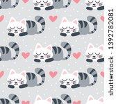 seamless sleeping cat pattern... | Shutterstock .eps vector #1392782081