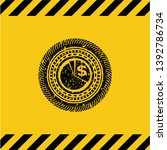 chart icon inside warning sign  ... | Shutterstock .eps vector #1392786734