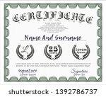 green certificate or diploma... | Shutterstock .eps vector #1392786737