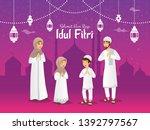 selamat hari raya idul fitri... | Shutterstock .eps vector #1392797567