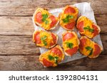 hot sandwiches with sausage and ... | Shutterstock . vector #1392804131