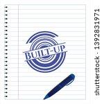 built up blue ink pen emblem.... | Shutterstock .eps vector #1392831971