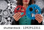 businesswoman tries to connect... | Shutterstock . vector #1392912311