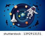 astronaut floating in the... | Shutterstock .eps vector #1392913151