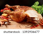 roast chicken cooked and on... | Shutterstock . vector #1392936677