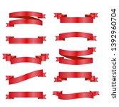 red ribbons set. vector design...   Shutterstock .eps vector #1392960704