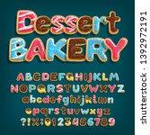 dessert bakery alphabet font.... | Shutterstock .eps vector #1392972191