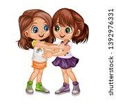two lovely happy best friends... | Shutterstock .eps vector #1392976331