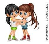 two lovely happy best friends... | Shutterstock .eps vector #1392976337
