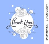 thank you card with handwritten ... | Shutterstock .eps vector #1392998594