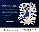 woman having panic attack... | Shutterstock .eps vector #1393024787