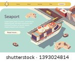 seaport isometric banner with... | Shutterstock .eps vector #1393024814