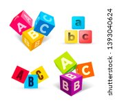 set of color abc blocks flat... | Shutterstock .eps vector #1393040624