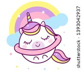 cute unicorn vector star on the ... | Shutterstock .eps vector #1393042937