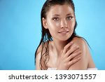 happy girl after shower with... | Shutterstock . vector #1393071557