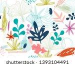 tropical leaves seamless... | Shutterstock .eps vector #1393104491
