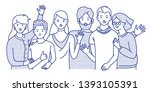 group of smiling teenage boys... | Shutterstock .eps vector #1393105391