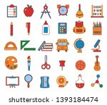 vector set of school elements... | Shutterstock .eps vector #1393184474