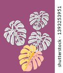 vector tropical pattern with... | Shutterstock .eps vector #1393253951