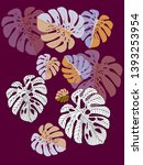 vector tropical pattern with... | Shutterstock .eps vector #1393253954