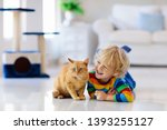 Stock photo child playing with cat at home kids and pets little boy feeding and petting cute ginger color cat 1393255127