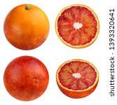 red blood oranges isolated on... | Shutterstock . vector #1393320641