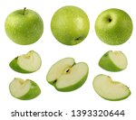 collection of green apples... | Shutterstock . vector #1393320644