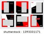 six set editable minimal square ... | Shutterstock .eps vector #1393331171