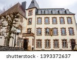 Winter partial view of the present Renaissance facade of the Castle of Wiltz at Wiltz, Luxembourg