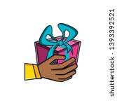 hand with gift box present | Shutterstock .eps vector #1393392521