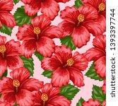 summer flowers. tropic pattern. ... | Shutterstock .eps vector #1393397744