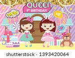 party backdrop with cute girls  ... | Shutterstock .eps vector #1393420064