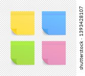 sticky colored notes. post note ... | Shutterstock .eps vector #1393428107