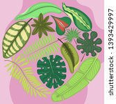 tropical leaves round pattern... | Shutterstock .eps vector #1393429997